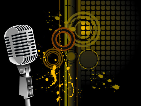 radio station: vintage microphone - vector Illustration