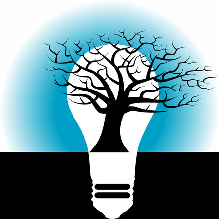 A high contrast bare tree in black and white inside a light bulb Vector