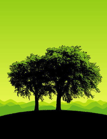 stately: Two stately trees isolated against a green background Illustration