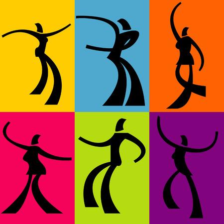 Een kleurrijke groep van sterk gestileerde dansers Stock Illustratie