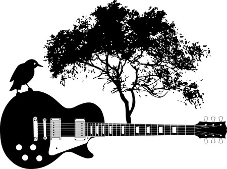 tree silhouettes: Bird on guitar with a tree