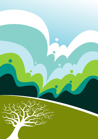 Vector landscape with tree Vector