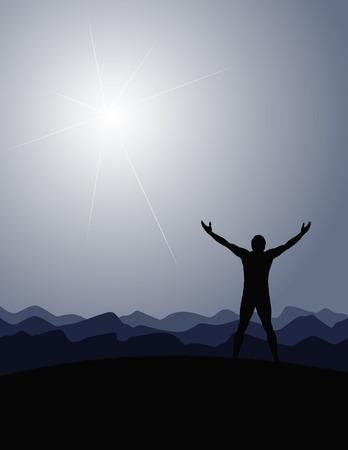 bras lev�: Man montagnes dimanche vecteur Illustration