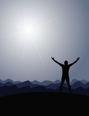 praise: Man mountains sun vector Illustration