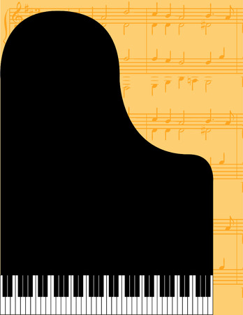 Piano vector background with musical notes