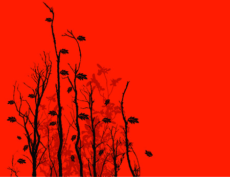 Black silhouette of vegetation against a red background