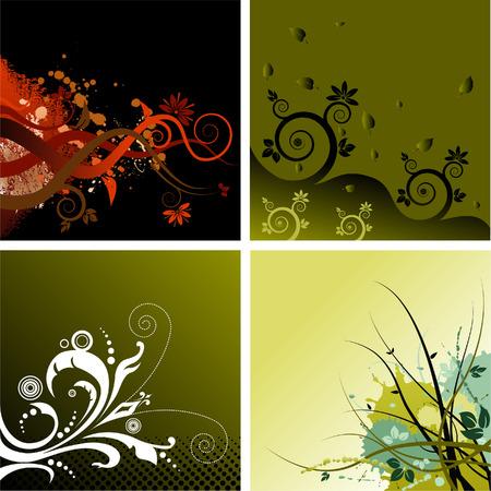 4 つのベクトル花グランジ背景