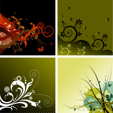 Four vector floral grunge backgrounds