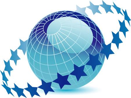 circled: Vector globo azul rodeada por estrellas