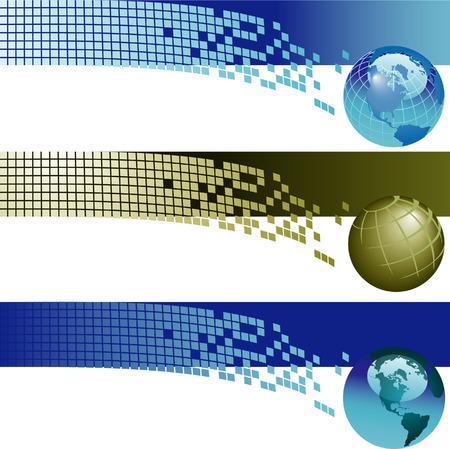 ウェブサイト バナーの背景。3 企業の技術サイトのウェブサイトのバナーの背景をベクトルします。  イラスト・ベクター素材
