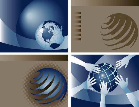4 vector globe backgrounds Vector
