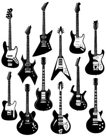 A set of twelve precisely drawn electric guitars Illustration