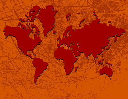 terra: map of the world in rust and red Illustration