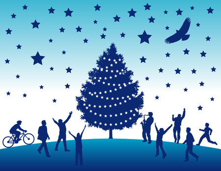 Happy people flock to a christmas terr in this vector art Vector