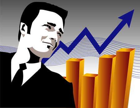 A handsome, upwardly mobile businessman looks at growth Vector
