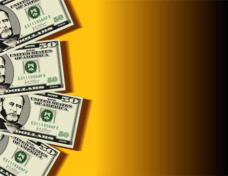 A vector background showing four fifty dollar bills with space for text