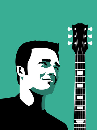 strat: A man and his guitar Illustration