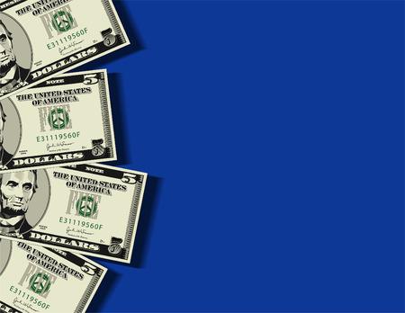 payout: Un conjunto de cuatro de los cinco billetes de d�lar en formato vectorial, con espacio para el texto de fondo Vectores
