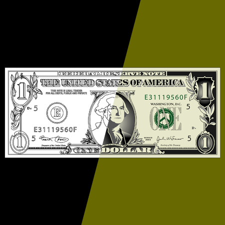 one dollar bill: An illustration of a one dollar bill on a green and black background.