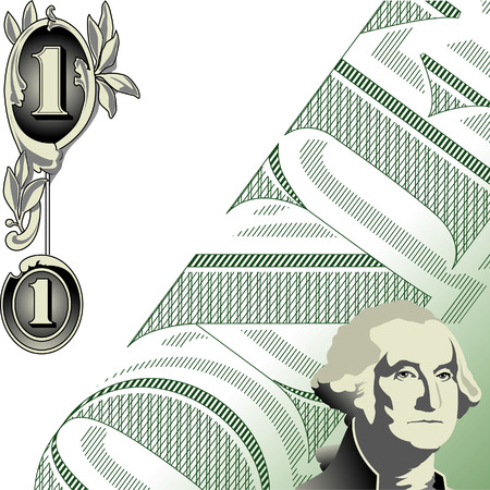 one dollar bill: Abstract illustration of American one dollar bill, available in vector format.