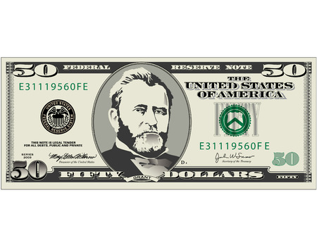 A detailed vector drawing of a fifty dollar bill Editoriali