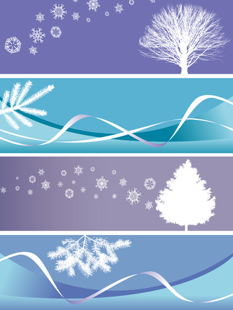 Set of four different Christmas banners in blue tone, available in vector. Stock Vector - 4210622