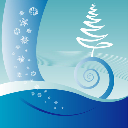 An abstract vector Christmas landscape background with space for text Vector