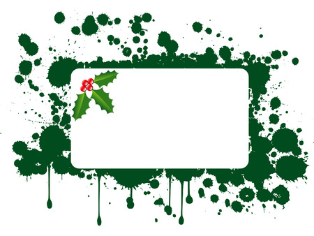 wintry: Green splats of paint with holly leaves and berries and white rectangular area for text. Illustration