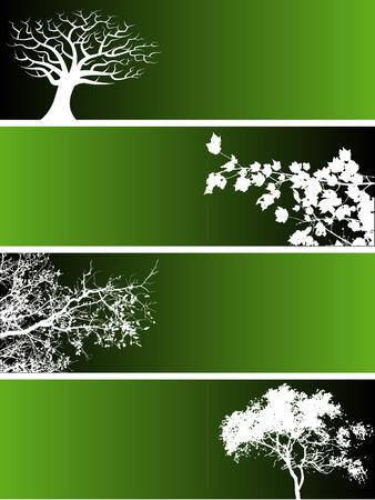 木と花の要素を持つ 4 つのバナーの選択。  イラスト・ベクター素材