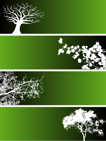 Choice of four banners with trees and floral elements. Stok Fotoğraf - 4210621