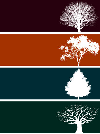 Choice of four banners with trees and floral elements. Vector