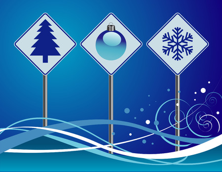 Three Christmas icon vector signs with a blue background Vector