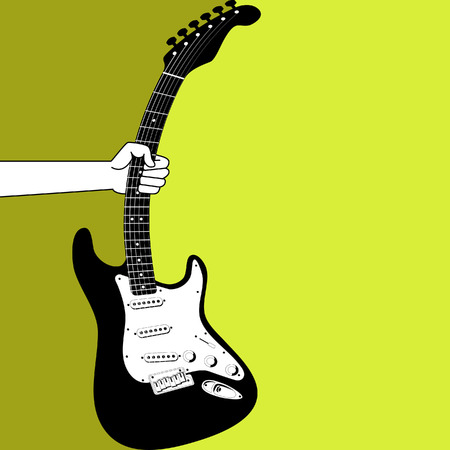 fretboard: A illustrated background of a hand holding an electric guitar Illustration