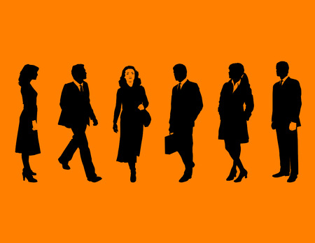 Business people silhouettes Stock Vector - 4210593