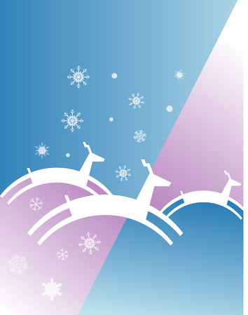 An abstract Christmas illustration of reindeer jumping in a wintry background. Vector