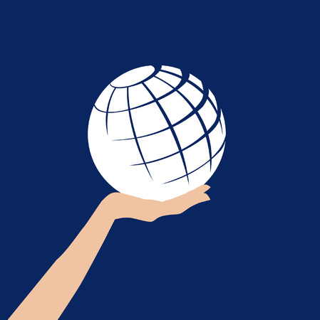 A white abstract globe is held in a hand against a blue background
