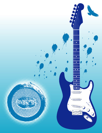 Blue tone illustration of an electric guitar and a bird
