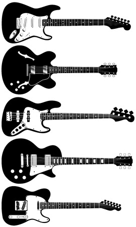 A set of five precisely drawn electric guitars Illustration