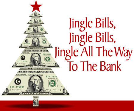 A christmas tree made of dollar bills with a clever pun as well Illustration