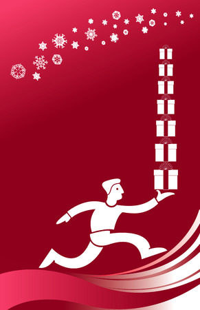 Christmas vector background of a man running with gifts Vector