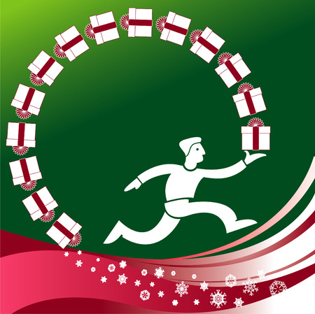 Christmas vector background of a man running with a circle of gifts Vector