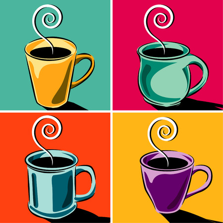 coffee: Four coffee cups