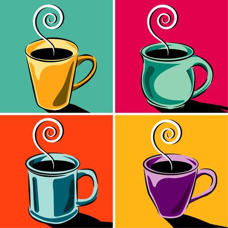 Quatre tasses de café Vecteurs