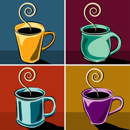4 つのコーヒー カップ  イラスト・ベクター素材