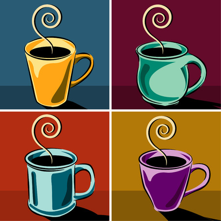 Four coffee cups