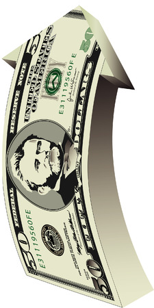 fifty dollar bill: a fifty dollar bill arrow Illustration