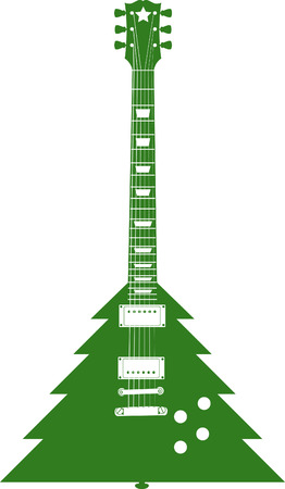 A Vector Christmas tree guitar