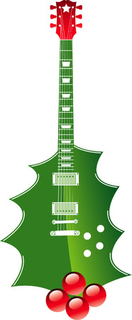 christmas greeting: A Vector Christmas holly guitar