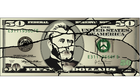 patched: A broken fifty dollar bill