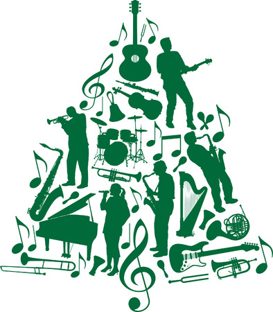 A Christmas tree made of musicians and musical instruments Illustration